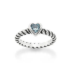 Heart with Blue Topaz Twisted Wire Ring