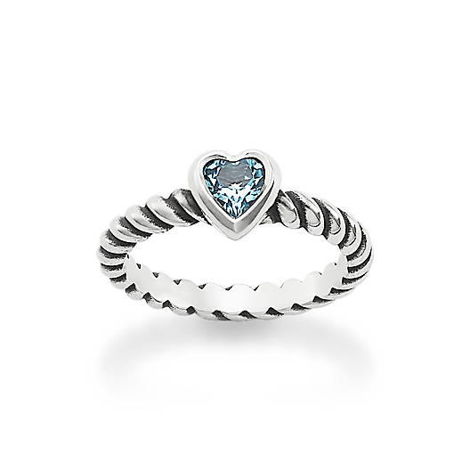 View Larger Image of Heart with Blue Topaz Twisted Wire Ring