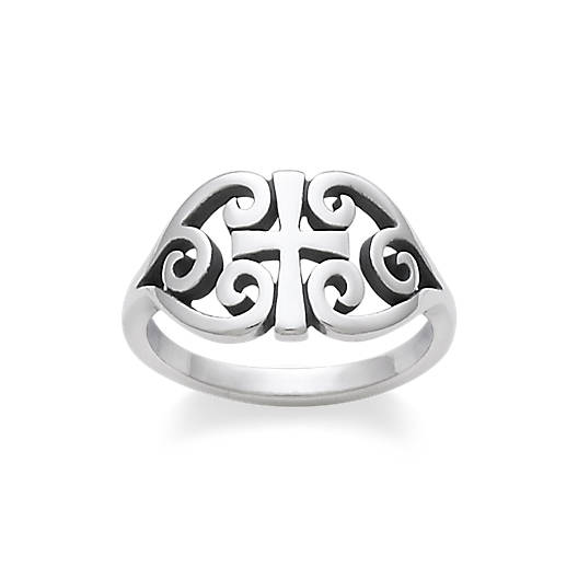 View Larger Image of Scroll Cross Ring