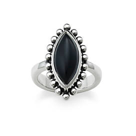 Beaded Marquise Onyx Ring