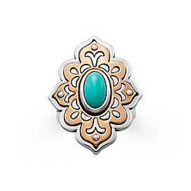 Tangier Sterling Silver & Copper Ring with Turquoise