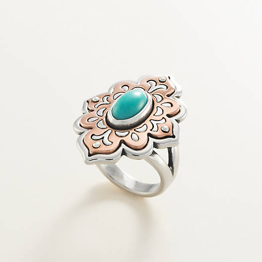 View Larger Image of Tangier Sterling Silver & Copper Ring with Turquoise