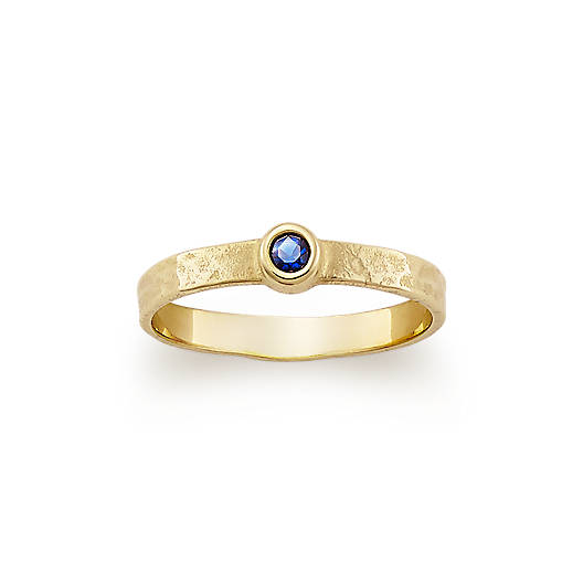 View Larger Image of Hammered Ring with Lab-Created Blue Sapphire