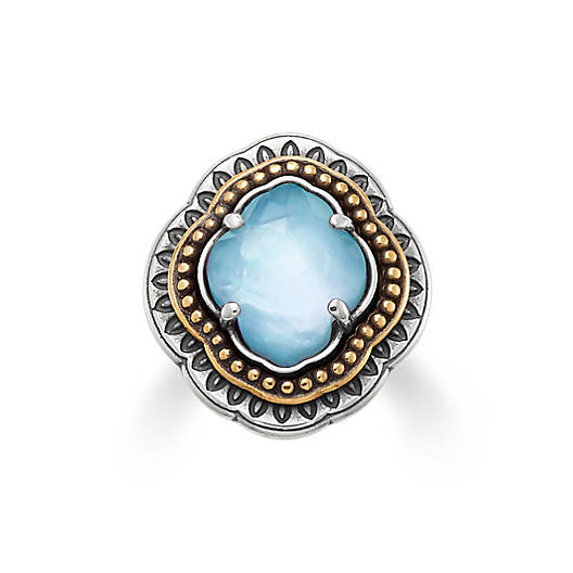View Larger Image of Heirloom Quatrefoil Blue Triplet Ring