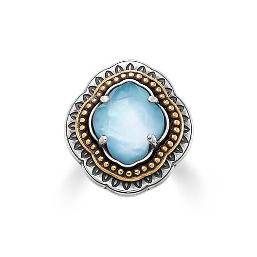 Heirloom Quatrefoil Blue Triplet Ring