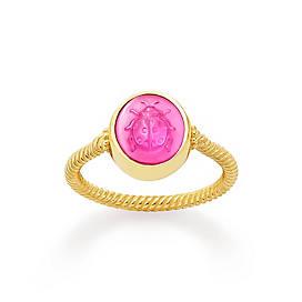 Sculpted Ladybug Pink Triplet Ring