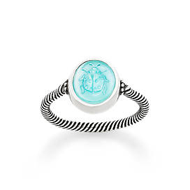 Sculpted Ladybug Teal Triplet Ring