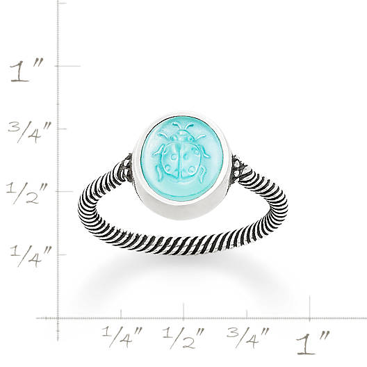 View Larger Image of Sculpted Ladybug Teal Triplet Ring