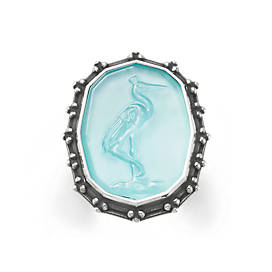 Sculpted Crane Teal Triplet Ring