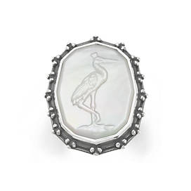 Sculpted Crane White Doublet Ring