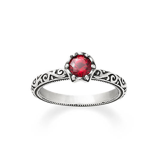 Cherished Birthstone Ring with Lab-Created Ruby