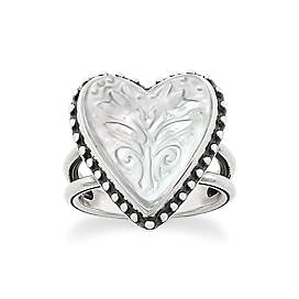 Sculpted Heart and Tulips White Doublet Ring