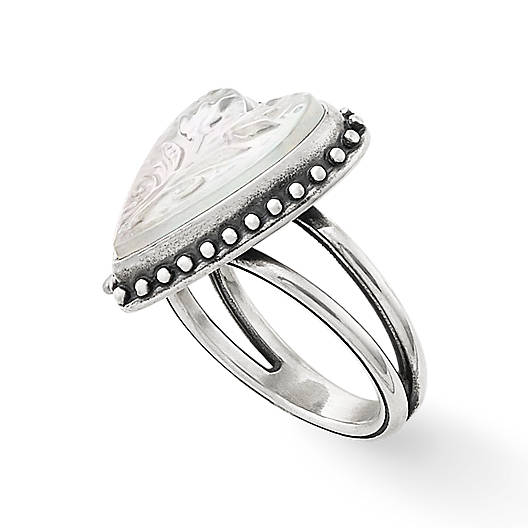 View Larger Image of Sculpted Heart and Tulips White Doublet Ring