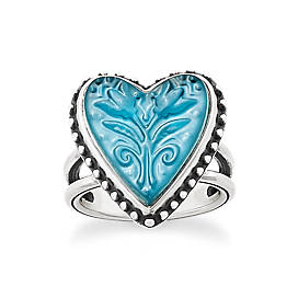 Sculpted Heart and Tulips Blue Triplet Ring