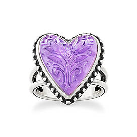 Sculpted Heart and Tulips Purple Doublet Ring