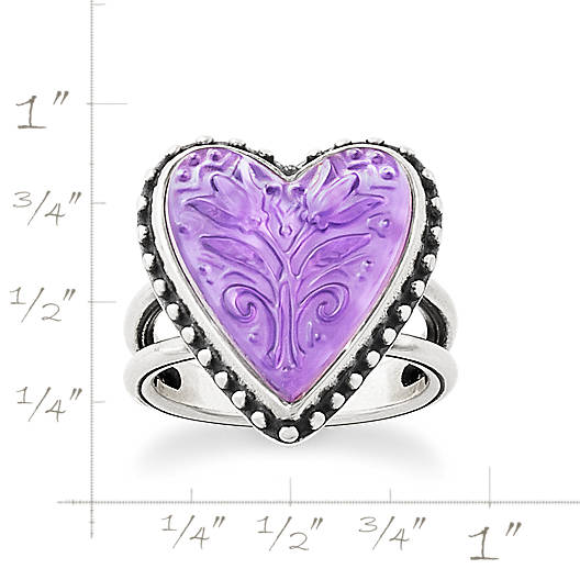 View Larger Image of Sculpted Heart and Tulips Purple Doublet Ring