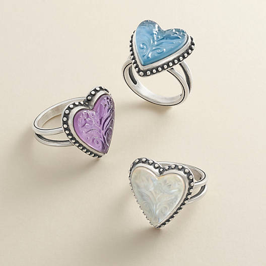 View Larger Image of Sculpted Heart and Tulips Blue Triplet Ring