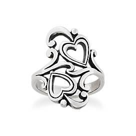 Swirls and Scrolls Hearts Ring