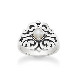 Spanish Lace Ring with Cultured Pearl