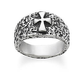 Textured Raised Crosslet Ring