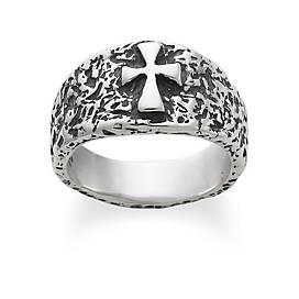 Textured Raised Crosslet Ring
