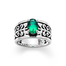 Adoree Ring with Lab-Created Emerald