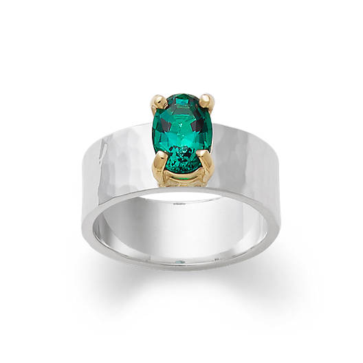 View Larger Image of Julietta Ring with Lab-Created Emerald