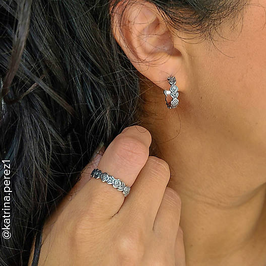 View Larger Image of Rose Hoop Ear Posts