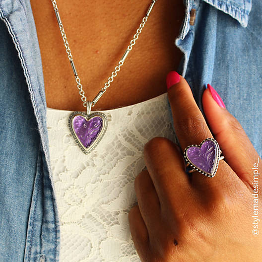 View Larger Image of Sculpted Heart and Tulips Purple Doublet Pendant