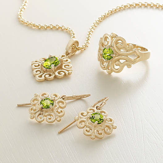 View Larger Image of Scrolled Pendant with Peridot