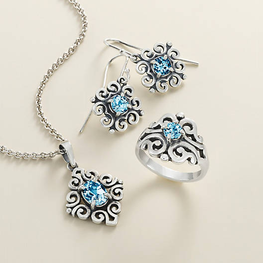 View Larger Image of Scrolled Pendant with Blue Topaz