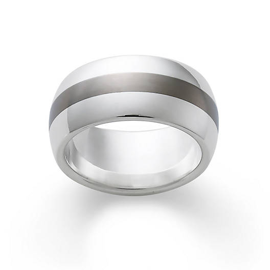 View Larger Image of Silver Band with Titanium Center