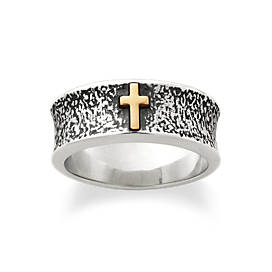 Textured Silver Band with Gold Cross