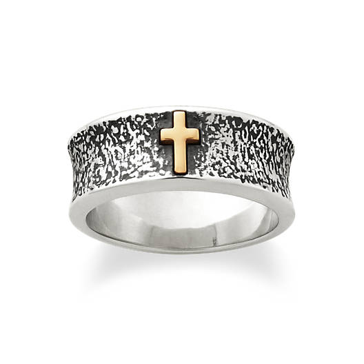 View Larger Image of Textured Silver Band with Gold Cross