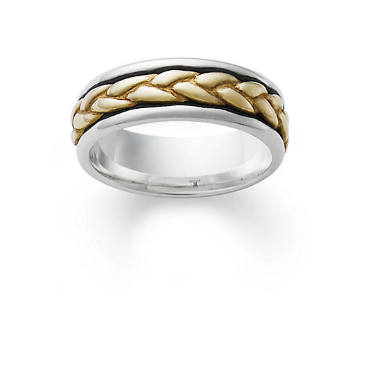 view larger image of silver band with gold braid - James Avery Wedding Rings