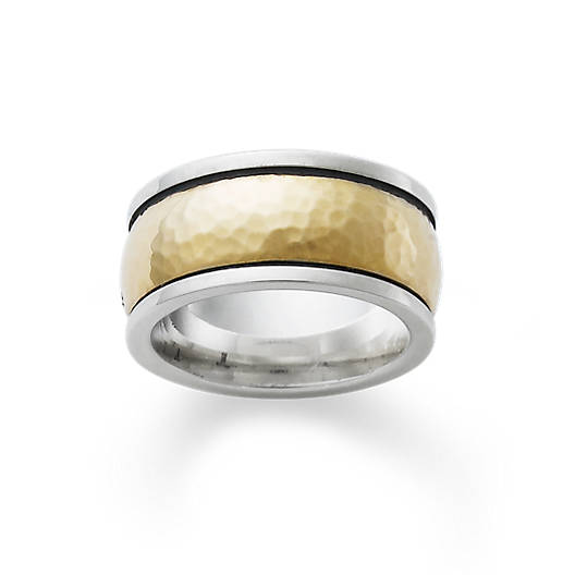 View Larger Image of Hammered Classic Gold & Silver Band